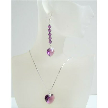 Romantic Jewelry Amethyst Swarovski Crystals Heart Pendant & Earrings