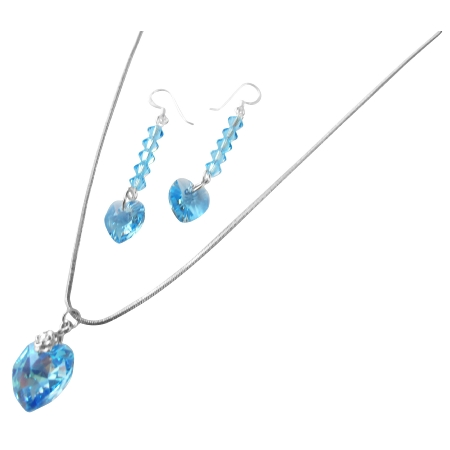 Soothing Aquamarine Heart Jewelry Set Handmade Crystals Necklace Set