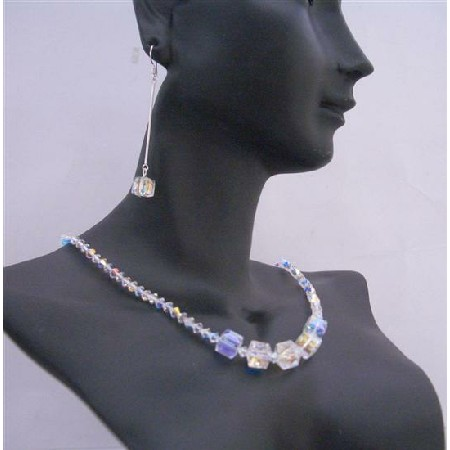 Cube Crystals Handmade Jewelry AB Swarovski Beautiful Necklace Set