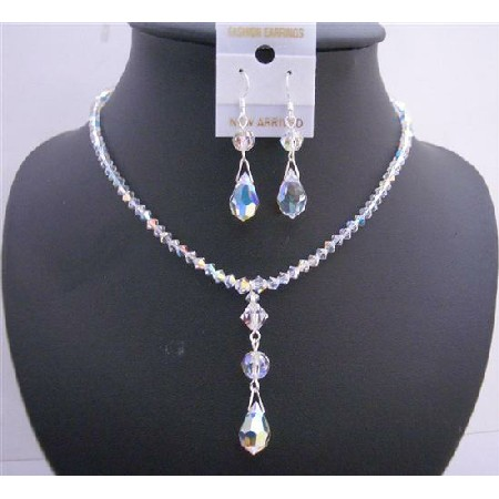 Swarovski AB Crystals Jewelry Swarovski Crystals Teardrop Necklace Set