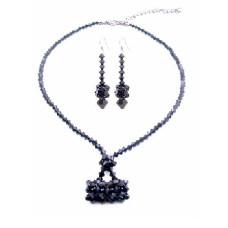 Jet Crystals Purse Necklace Set Swarovski Purse Handmade Jewelry Set