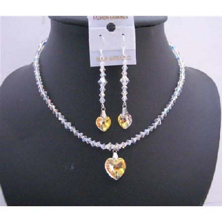 AB Swarovski AB Crystals Heart Pendant & Earrings Swarovski AB Jewelry