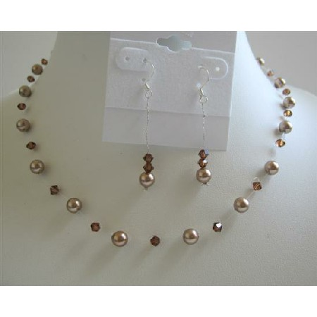 Bronze Pearls Smoked Topaz Swarovski Crystals Pearls Jewelry Set