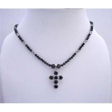 Black Cross Pendant Swarovski Jet & Black Diamond Crystals Necklace