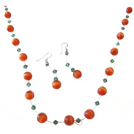 Red Cat Eye Jewelry Set w/ Turmarine Crystals Swarovski Necklace Set