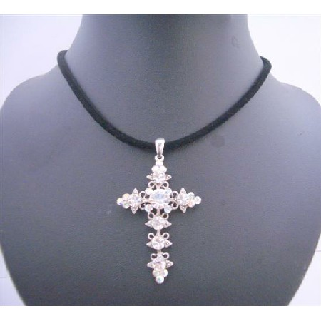 Velvet Black Chord w/ AB Crystals Cross Pendant Necklace