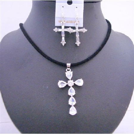 Clear Crystals Cross Pendant Black Chord w/ Cross Earrings Jewelry Set