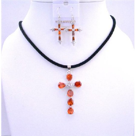 Black Chord Necklace w/ cross Pendant Earrings Burnt Orange Crystals