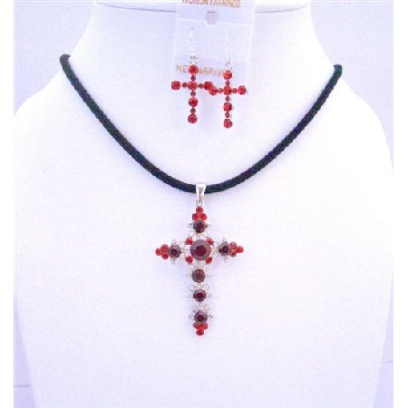 Siam Red Light & Dark Cross Pendant Earrings Jewelry Set