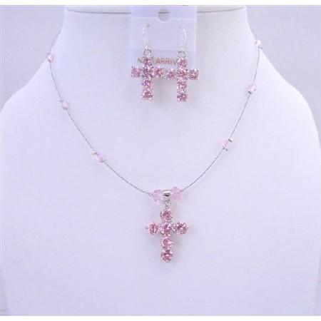 Cross Pendant Earring Jewelry Swarovski Rosaline Crystals Necklace Set