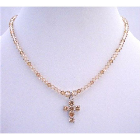 Lite Smoked Topaz & Golden Shadow Crystals Cross Pendant Necklace