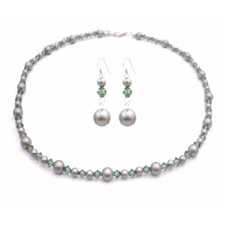 Powder Green Pearls w/ Turmarine Swarovski Crystals Custom Jewelry Set