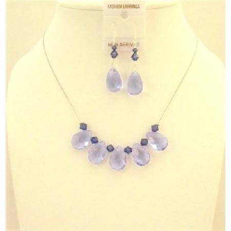 Purple Velvet Crystals Purple Glass Bead Bridal Bridesmaid Jewelry Set