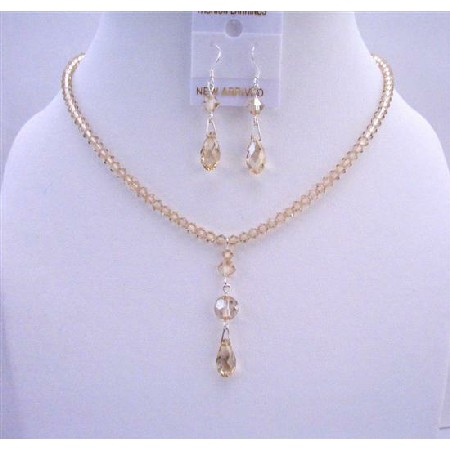 AB Golden Shadow Crystals Briollette Drop Down Bridal Wedding Jewelry