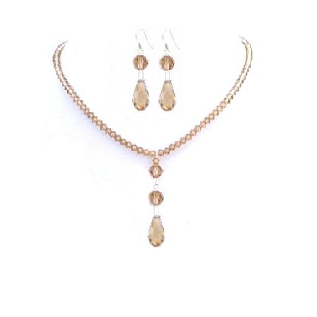 Lite Colorado Crystals Bridesmaid Jewelry Set Multi Faceted Teardrop