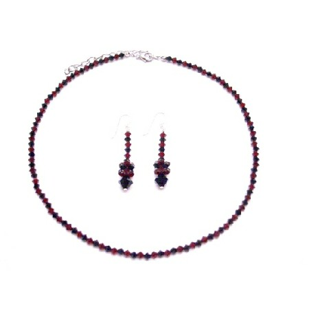 Fashion Jewelry For Everyone Collections Red & Black Crystals Jewelry Set Swarovski Siam Red And Jet Black Swarovski Crystals Necklace Set Genuine Swarovski Crystals at Sears.com