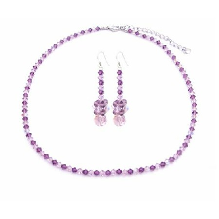 AB Amethyst Swarovski Crystals Necklace Set Amethyst Jewelry