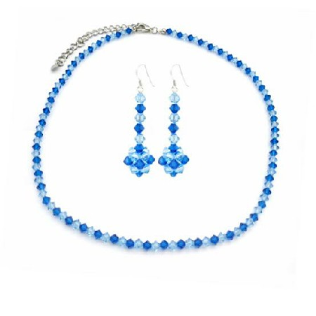 Capri Color Swarovski Crystals w/ Sapphire Blue Crystals Jewelry Set