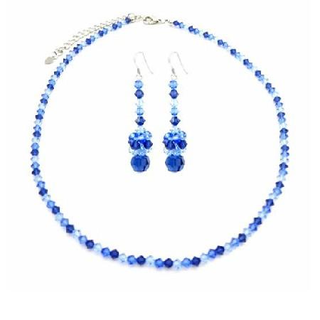Sapphire TriColor Dark & Lite Sapphire Crystals Swarovski Necklace Set