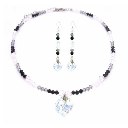 Sexy Seduction TriColor Jet AB & Black Diamond Crystals Heart Necklace