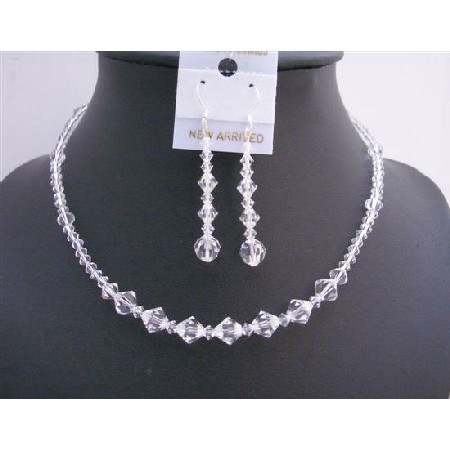 Swarovski Clear Crystal Bridal Birdemaides Jewelry Set Custom Necklace