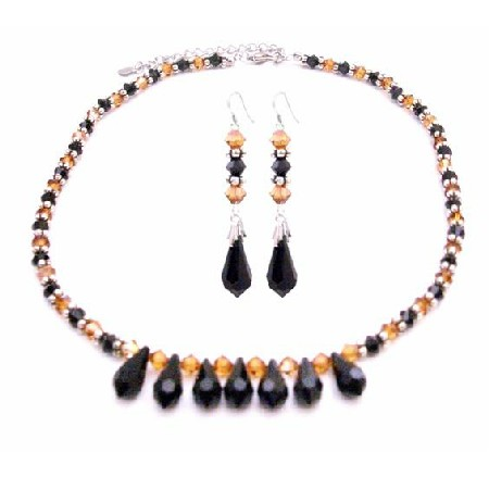 Copper Jet Black Swarovski Crystals 5mm Jewelry Set Jet 7 Teardrop Set