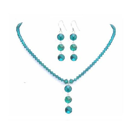 Handcrafted Emearald Crystals Necklace Swarovski Earrings Necklace Set