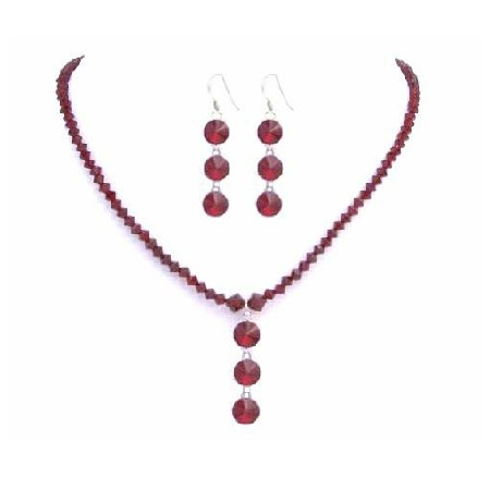 Sexy Siam Red Swarovski Handmade Red Crystals w/ Drop Down Jewelry Set