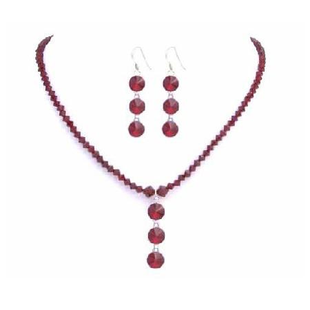 Sexy Siam Red Swarovski Handmade Red Crystals w/ Drop Down Jewelry Set