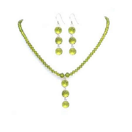 Olive Green Crystals Necklace & Earrings Custom Jewelry Swarovski Set