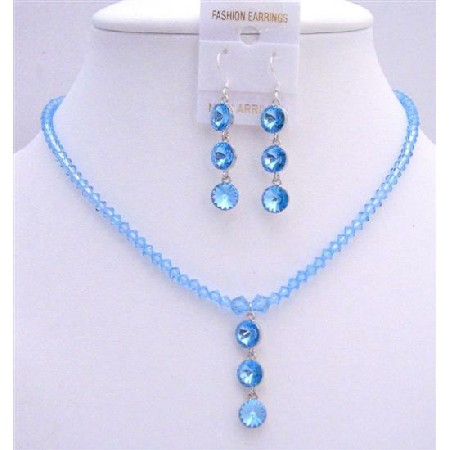 Aquamarine Crystals Swarovski Beads Drop Down Round Crystals Necklace