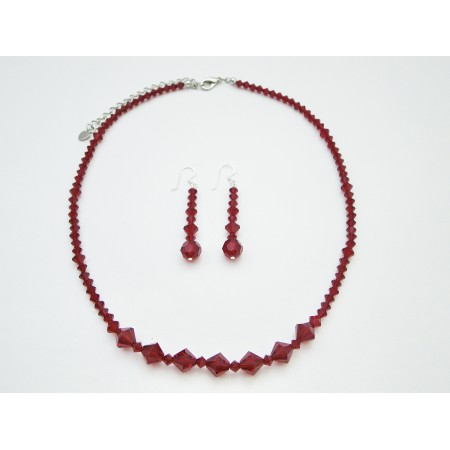 Swarovski Crystals Jewelry Set Siam Red Crystals Necklace Set