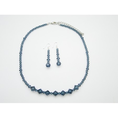 Handmade Swarovski Crystals Necklace Set Montana Blue Necklace Set