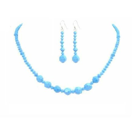 Turquoise Crystals Jewelry Set Handcraft Necklace Set