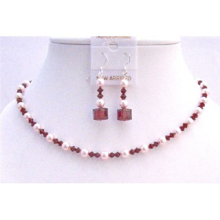 Siam Red Swarovski Crystals w/ Rose Pink Pearls Necklace Set