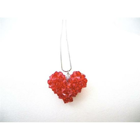 Passion Jewelry Lite Siam Red Puffy Heart Swarovski Crytal Necklace