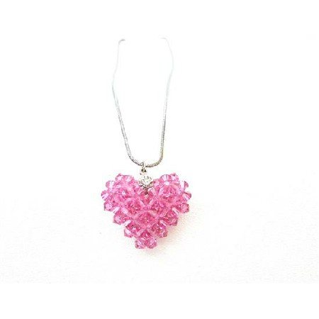 Swarovski Rose Crystals Handmade Puffy Heart Pendant Necklace