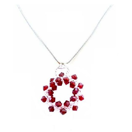 Siam Red & Japanese Glass Beads Pendant w/ Rhodium Silver Chain