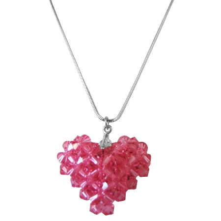 Rose Dainty Delicate Puffy Heart Pendant Necklace