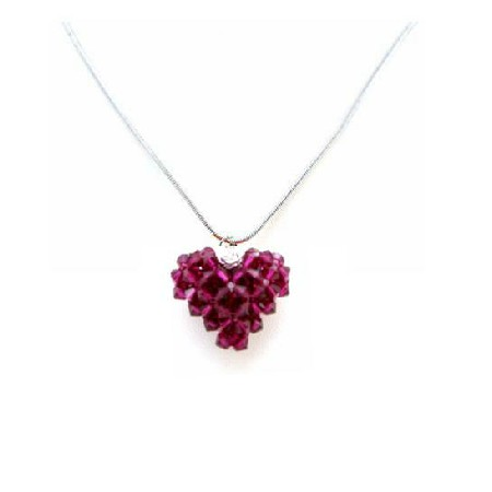 Handcrafted Ruby Swarovski Crystals 3D Puffy Heart Pendant Necklace