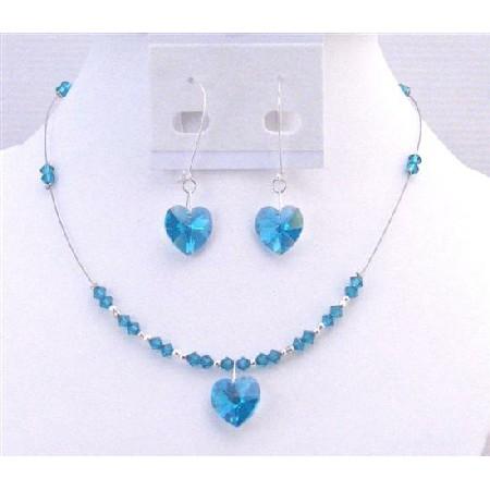 Swarovski Blue Zircon Heart Pendant Valentine Inexpensive Gift Jewelry