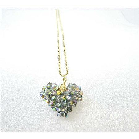 Golden Chain Handmade Swarovski Vitral Crystals Pendant Necklace