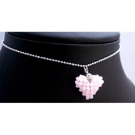 Handmade 3D Light Pink Heart Rose Alabasta Crystals Pendant Necklace