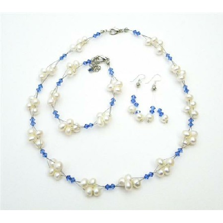 Unique Cheap Swarovski Crystals Freshwater Pearl Sapphire Blue Jewelry