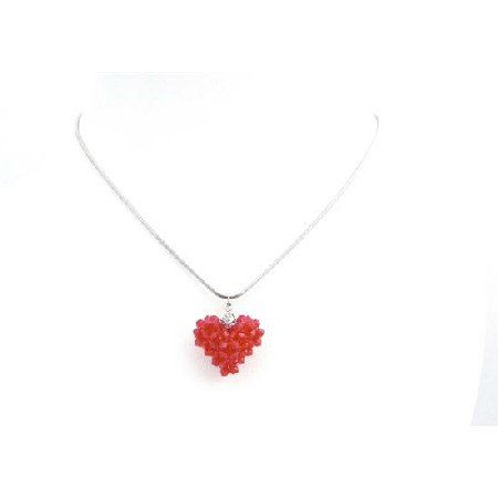 Passionate 3D Puffy Heart Lite Siam Red Crystals Pendant Necklace