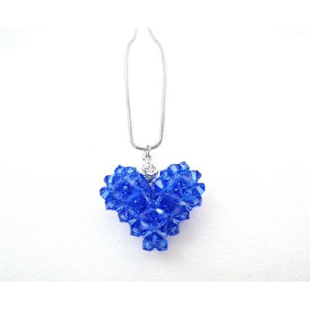 Custom Valentine In Your Crystals Sapphire Puffy Heart Pendant Jewelry