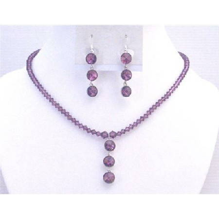 Amethyst Dress Jewelry Crystals Jewelry In Your Own Color Necklace Set