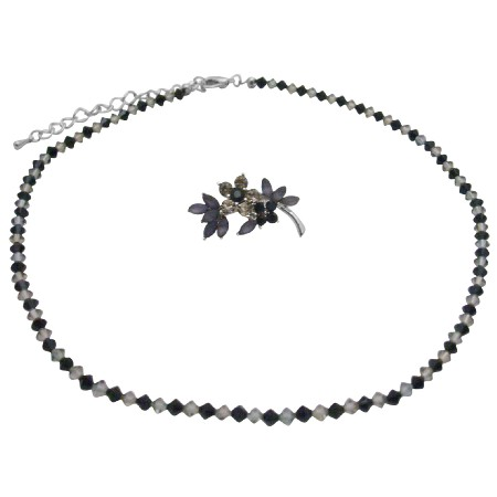Inexpensive Necklace & Brooch Wedding Party Jet Black Diamond Crystals