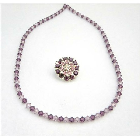 Lite Dark Amethyst Brooch Matching Necklace Wedding Bridesmaid Jewelry