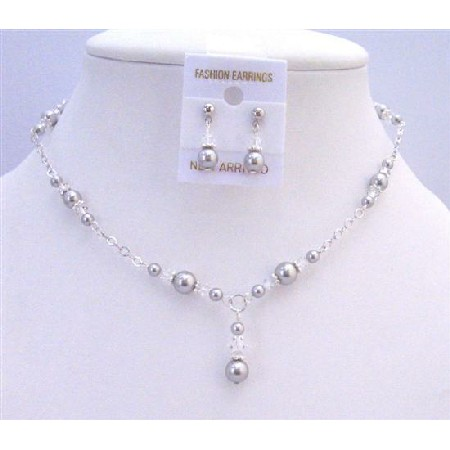 Wedding Bridal Swarovski Lite Grey Pearls Clear Crystals Jewelry Set
